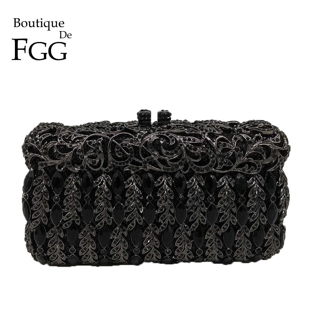 Boutique De FGG-حقيبة سهرة نسائية من الكريستال الأسود ، حقيبة صلبة أنيقة ، حقيبة يد صغيرة لحفلات الزفاف ، محافظ معدنية
