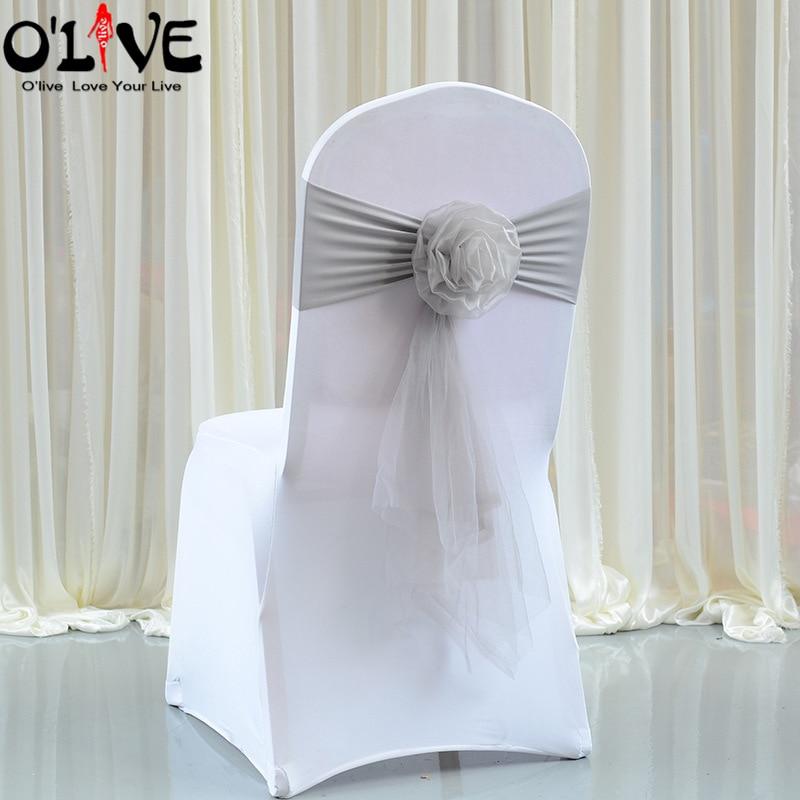 الأورجانزا زهرة كرسي زفاف عقدة القوس ليكرا كرسي وشاحات التعادل كرسي زفاف الديكور حزام الفرقة غطاء مأدبة مكان الفندق