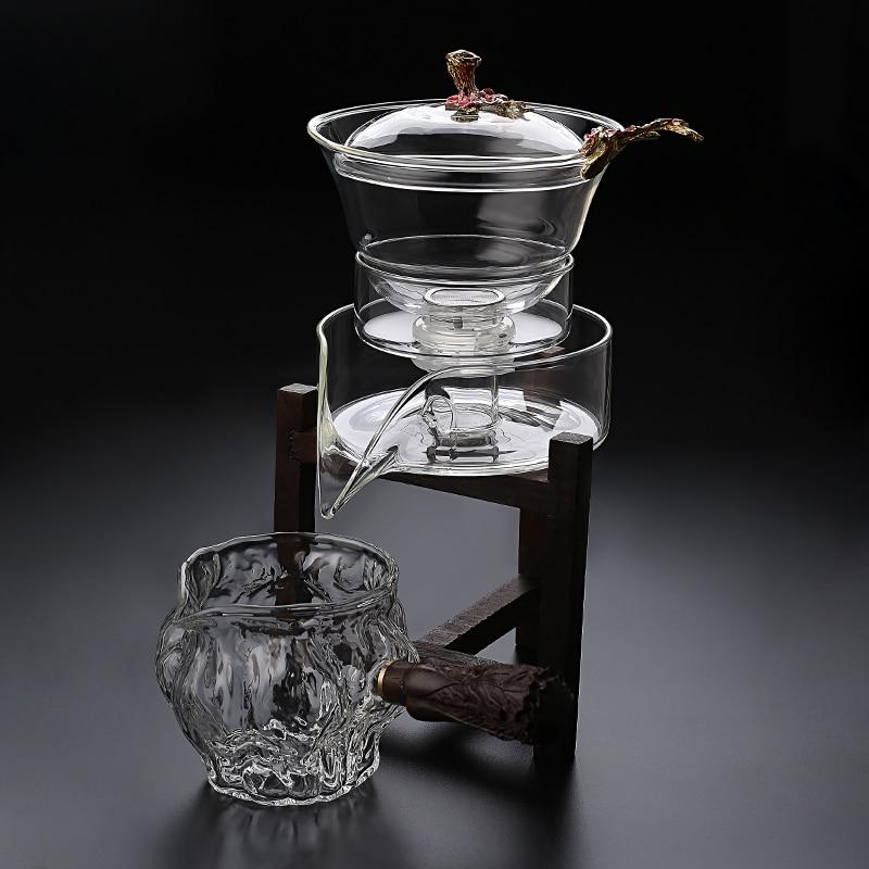 طقم شاي زجاجي مقاوم للحرارة ، غطاء دوار مغناطيسي ، وعاء ، صانع شاي شبه أوتوماتيكي ، مجموعة شاي Kungfu كسول