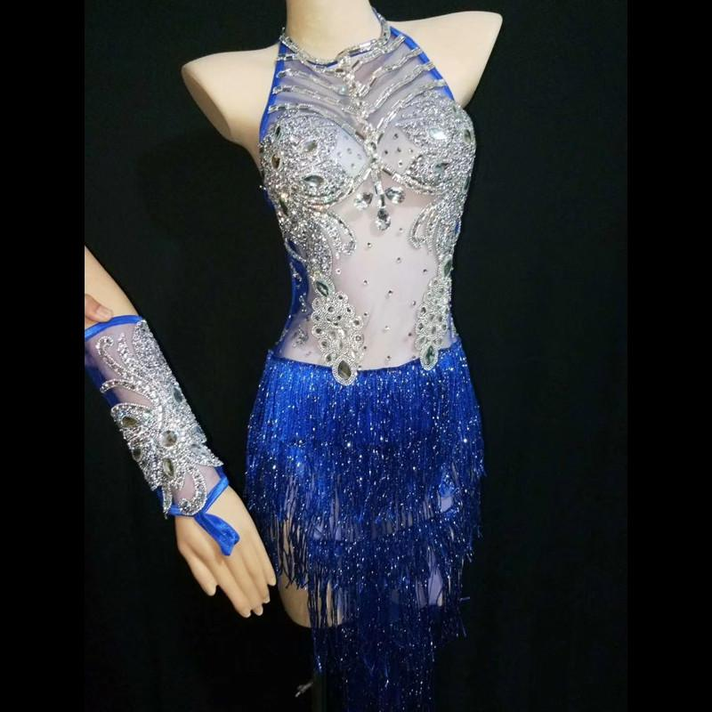 Sexy Blue See Through Crystal Latin Dance Dress Backless Tassel Bodysuits Women Jazz Singer Stage We