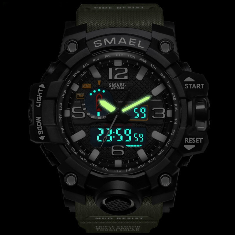 Brand Men Sports Watches Dual Display Analog Digital LED Electronic Quartz Wristwatches Waterproof Swimming Military Watch