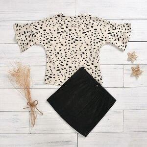Дропшиппинг Sunner для маленьких девочек, летний топ с леопардовым принтом + мини-юбка А-силуэта, наряд, 2 шт.