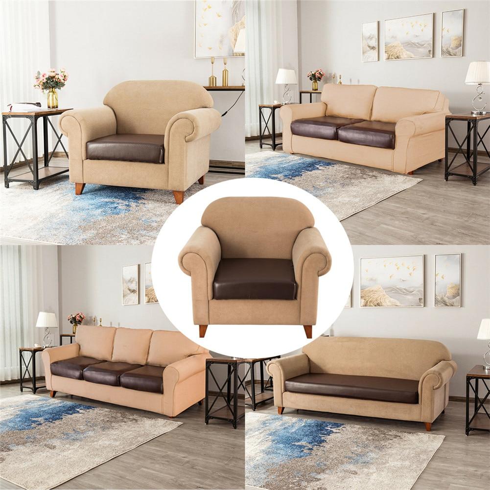 1/2/3/4 funda de cojín elástica de cuero PU funda de sofá impermeable Protector de asiento Fundas de cojín elásticas para sofá