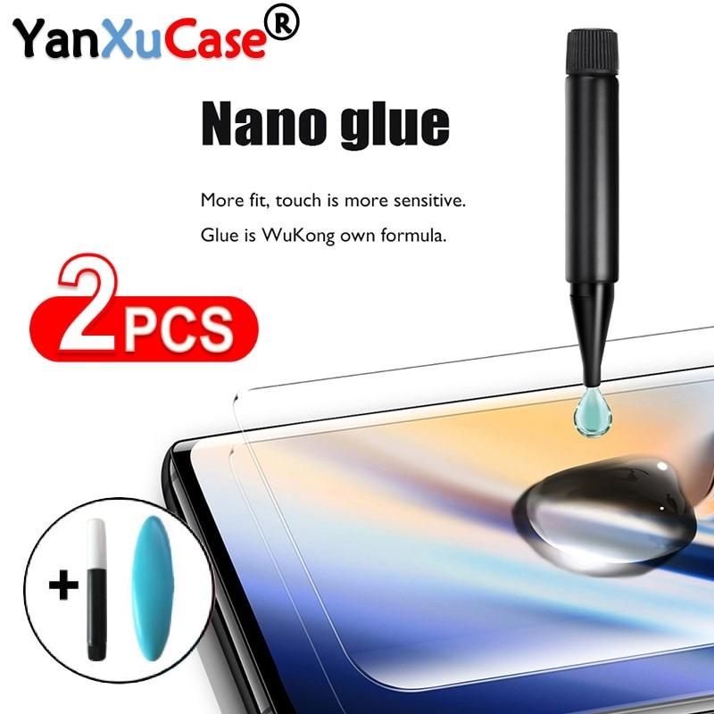 2PCS UV Tempered Glass For Oneplus 8 1+8 Pro Full Nano Liquid Screen Protector One Plus 7 7T 1+7 Fingerprint Unlock