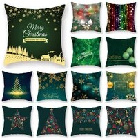 green christmas elk snowman pillow case decoration sofa cushion cover bed pillow case home decoration car cushion cover 4545cm
