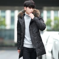 winter mens long camouflage down jacket cashmere hood