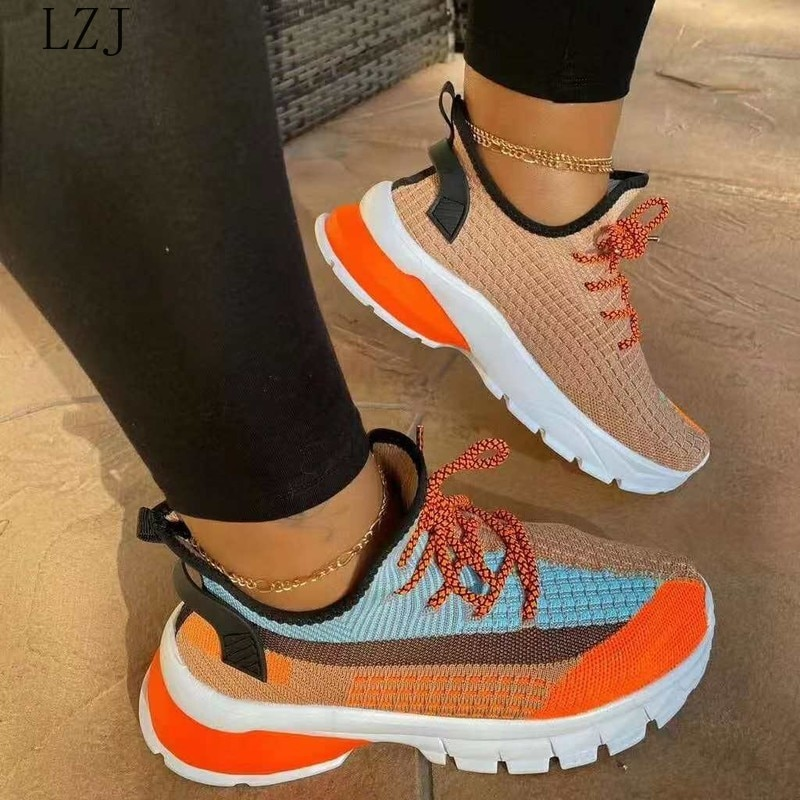 Spring Sneakers Women Thick Bottom Daddy Shoe Thick Bottom Round Toe Breathing Leisure Female Vulcanize Shoes Zapatos De Mujer