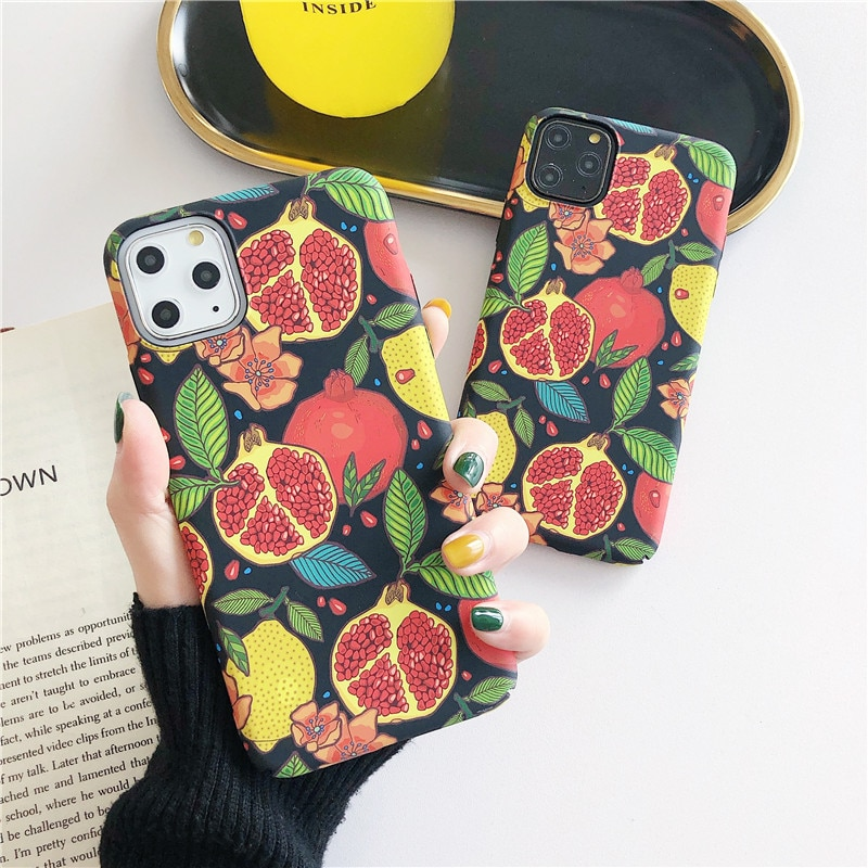 Cute Pomegranate Phone Case for Iphone 11 Pro Max XR XS Max X 6S 6 7 8 Plus Fresh Fruit Hard Case Back Cover