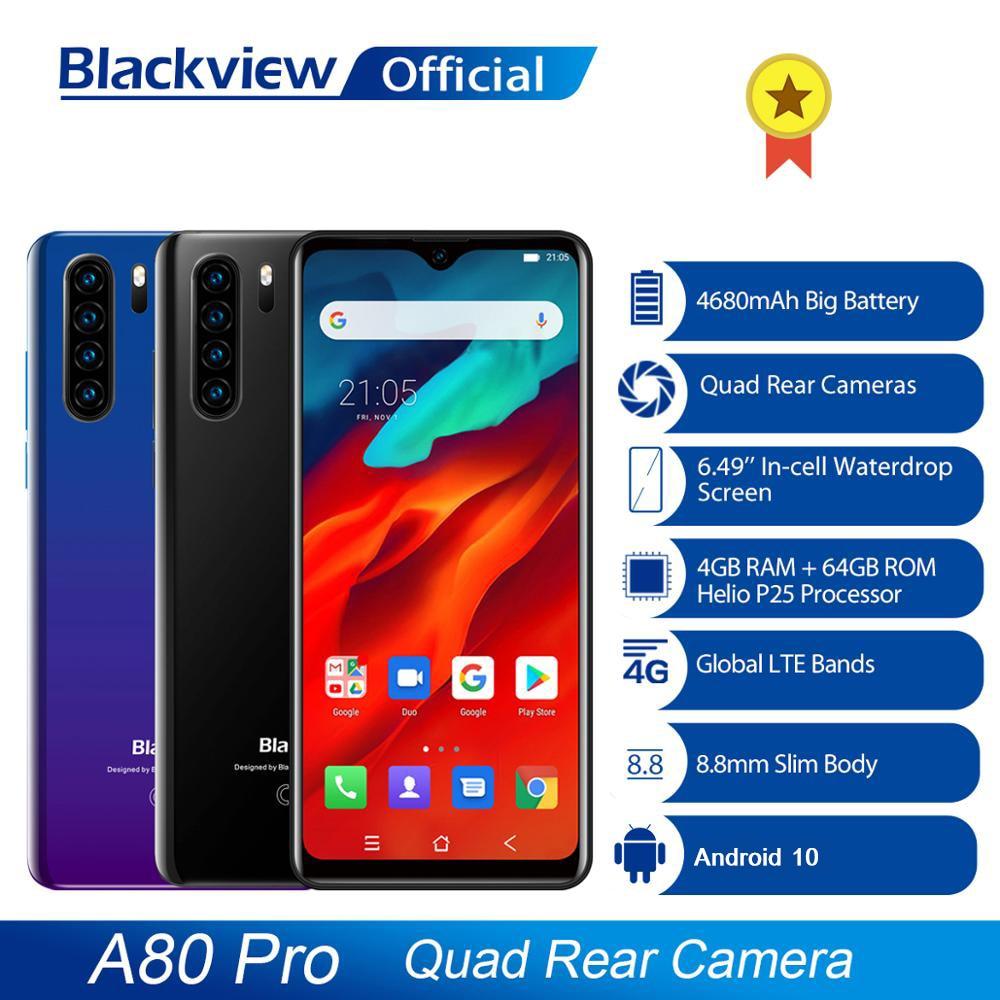 Смартфон Blackview A80 Pro 4G, 4 + 64 ГБ, Android глобальная версия, 4680 мАч