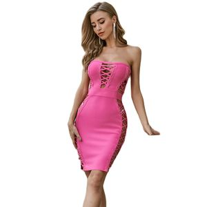 Sexy Bodycon Bandage Party Dress Women Sleeveless Evening Club Short Pencil Dress Chest Hollow Out Vestidos