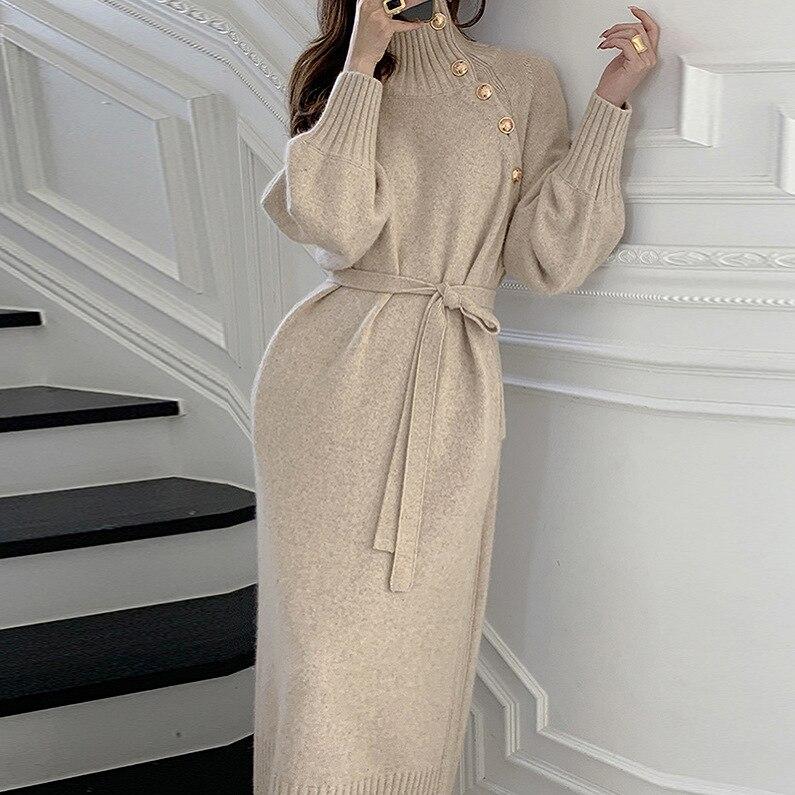 فستان نسائي محبوك ، أكمام طويلة ، ضيق ، زي مكتب سميك وكوري ، مجموعة الربيع