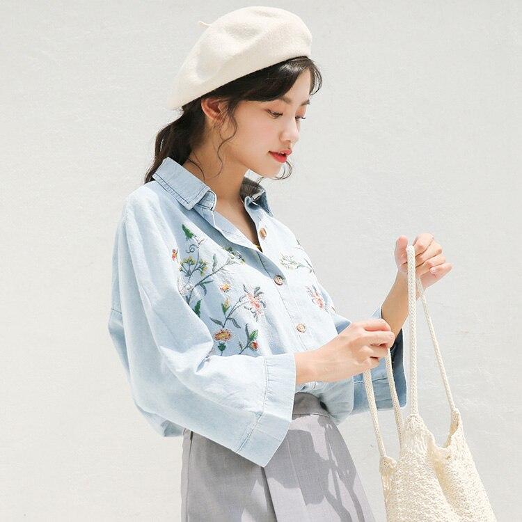 embroidery denim shirts New spring Vintage Shirt female Oversize Tops Women Girls Blouse Plus Size Women Blouses femme Blusas