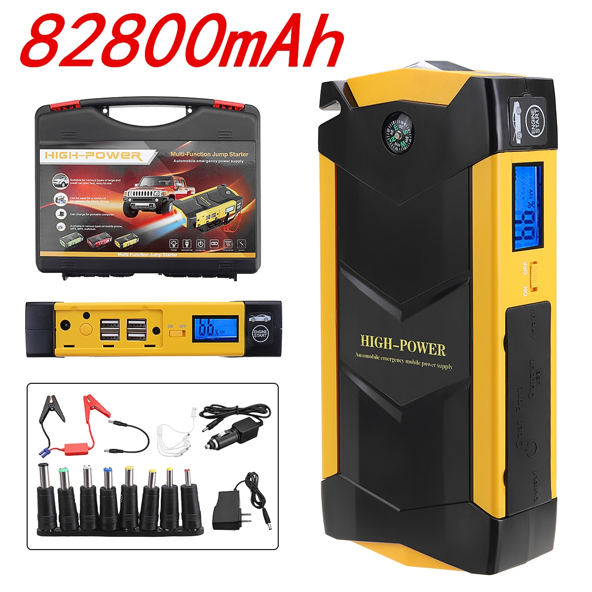Портативное зарядное устройство для авто, мощное пусковое устройство для автомобиля 82800 мАч, 12 В, стартовое устройство, внешний автомобильн...