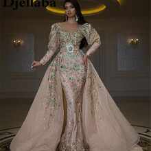 Luxury Arabic Long Sleeves Evening Dresses With Detachable Train V Neck Beading Crystals Middle East