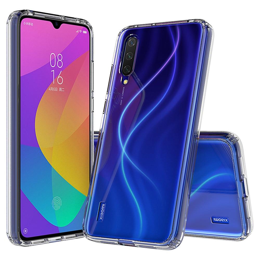 Para Xiaomi mi CC9 CC 9 e caso TPU parachoques duro acrílico claro cristal teléfono cubierta para Xiaomi mi CC9E CC 9E 9 lite