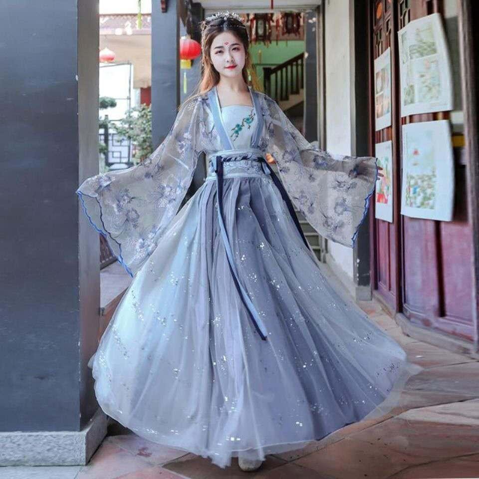 2021 الصينية التقليدية زي Hanfu تأثيري حلي القديمة هان سلالة المرأة مرحلة عرض فستان الصينية الشعبية الرقص الزي مجموعة