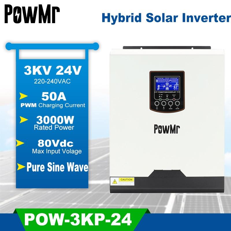 PowMr 3KVA الشمسية العاكس الهجين 24 فولت 220 فولت نقية شرط موجة قبالة الشبكة العاكس مع 5A شاحن تيار متردد PWM 50A شاحن بالطاقة الشمسية ل PV 80 فولت