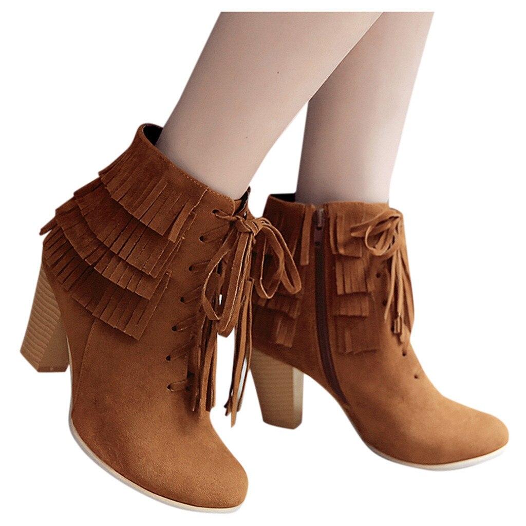 SAGACE, botines de tacón grueso con borla para mujer, botines bajos de tacón cuadrado de invierno, botas de mujer feas de fiesta de alta calidad para mujer