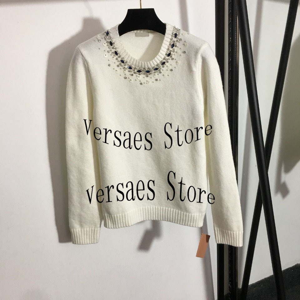 21 Luxury Design Women's diamond studded long sleeve Pullover embroidered letters fashion temperament round neck knitted sweater enlarge