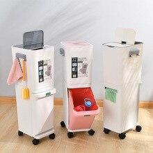 Moda Creativa 2 Strato di Spazzatura Bin Ordinati Bidone della spazzatura Cestino Gap In Piedi Secchio di Risparmio di Spazio Da Cucina Box di Stoccaggio Organizzatore