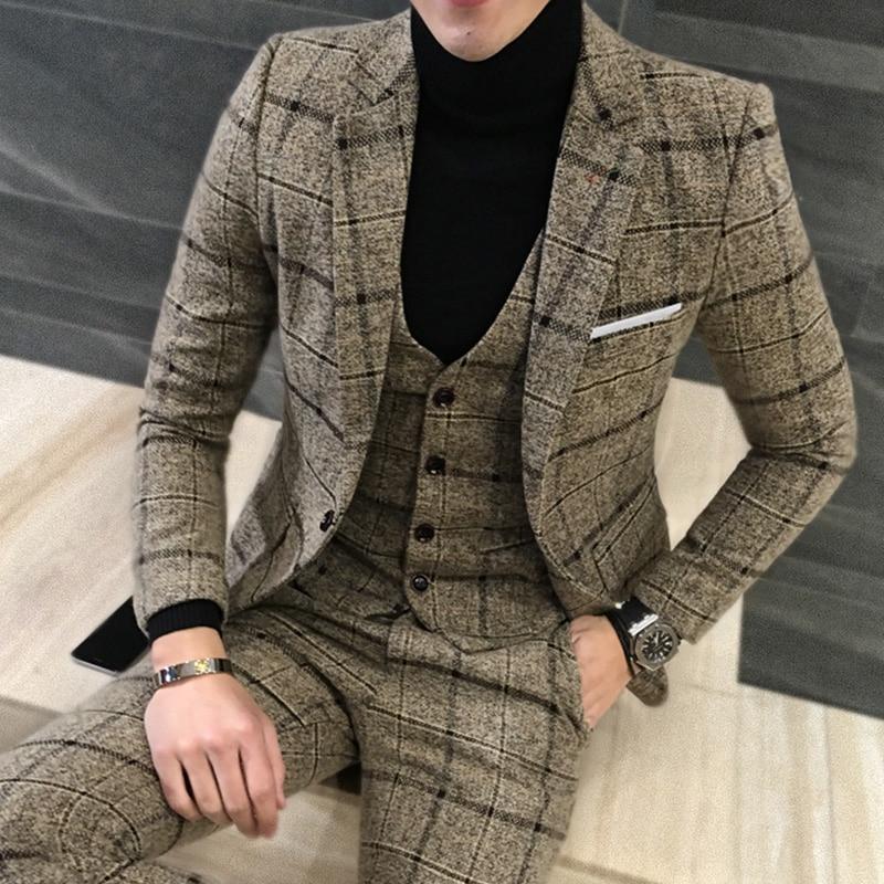 3 Piece Suits Men British Latest Coat Pant Designs Brown Navy Mens Suit Autumn Winter Thick Plaid Business Suit