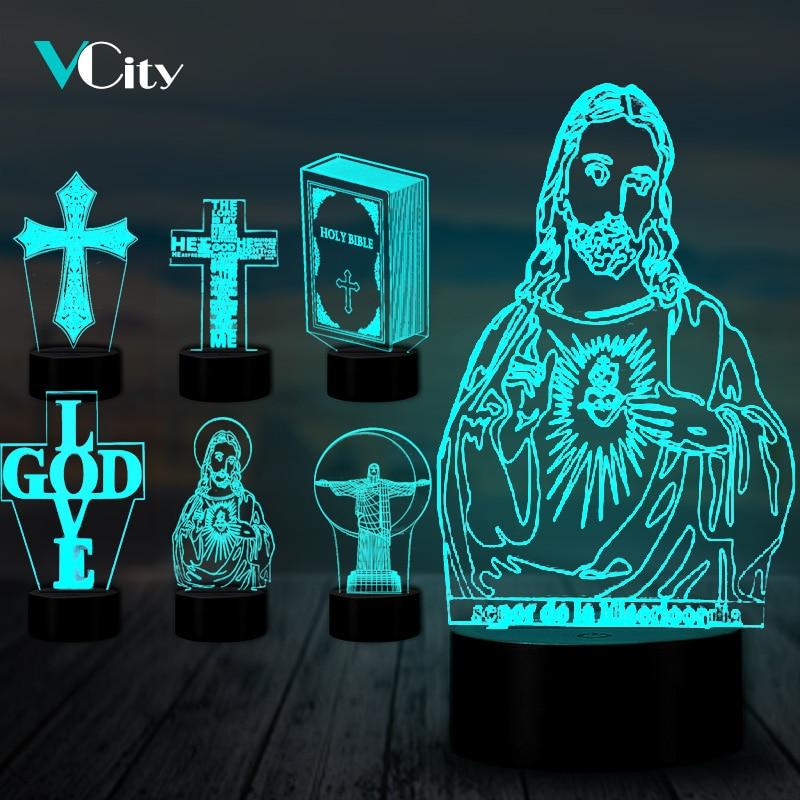 VCity Кристиан серии 3D светильник крест Иисус Библия ночник акриловая пластина сенсорный пульт дистанционного управления база домашний декор праздник подарки для друга