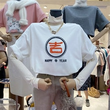 Happy Cow Year2021 New Cartoon Printed Short-Sleeved T-shirt Loose Long Couple Men and Women