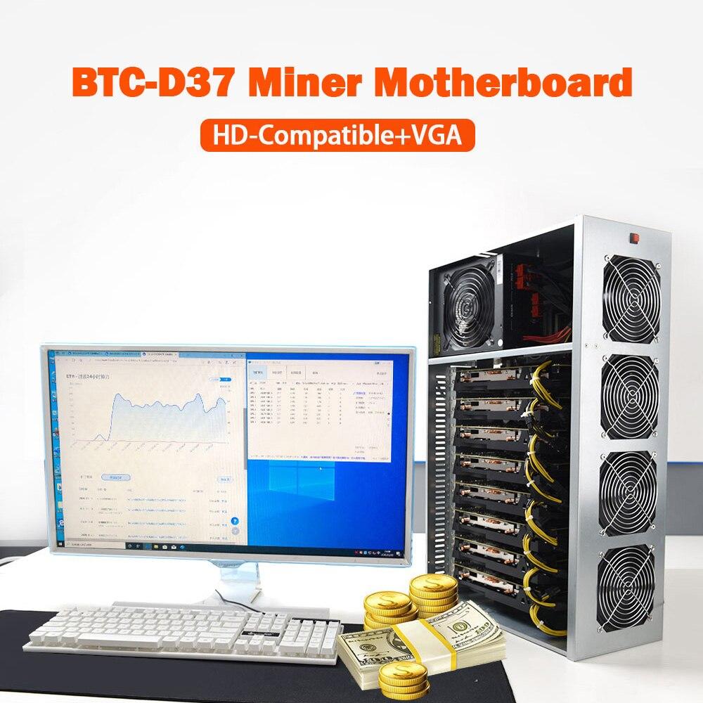 2021 حالة التعدين مجموعة BTC-D37 الشاسيه ث/4 المشجعين اللوحة 8 فتحات DDR SSD آلة استخراج المعادن نظام للتعدين ETH الخ ZEC Ethereum