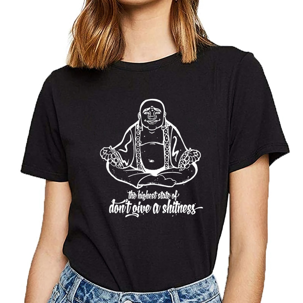 Tops camiseta mujer Buda budismo meditación om espiritual indie blanco divertido camiseta femenina