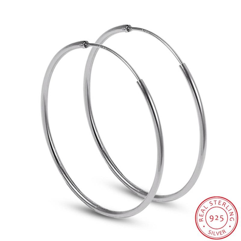 Big hoop earrings 925 Sterling Silver earrings female ear ring Earring Round the ear ring hoops Round earrings 50mm/60mm/70mm