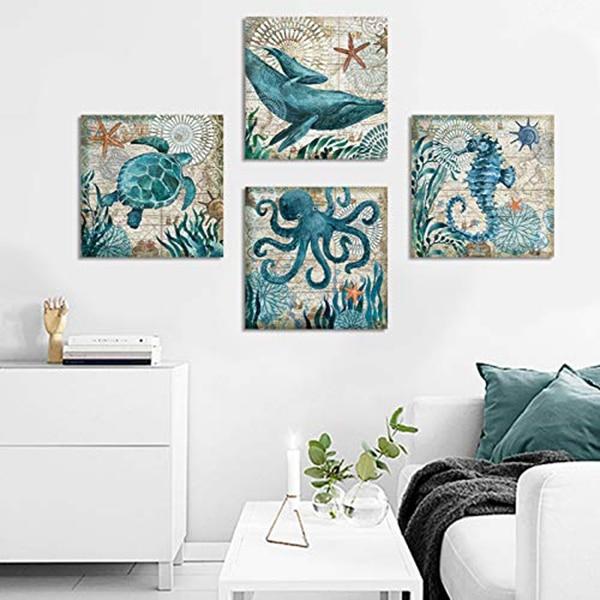 Decoración de pared para el hogar, lienzo de estilo mediterráneo con temática marina, con Marco, pulpo, tortuga marina, caballito de mar, poste de imagen de ballena