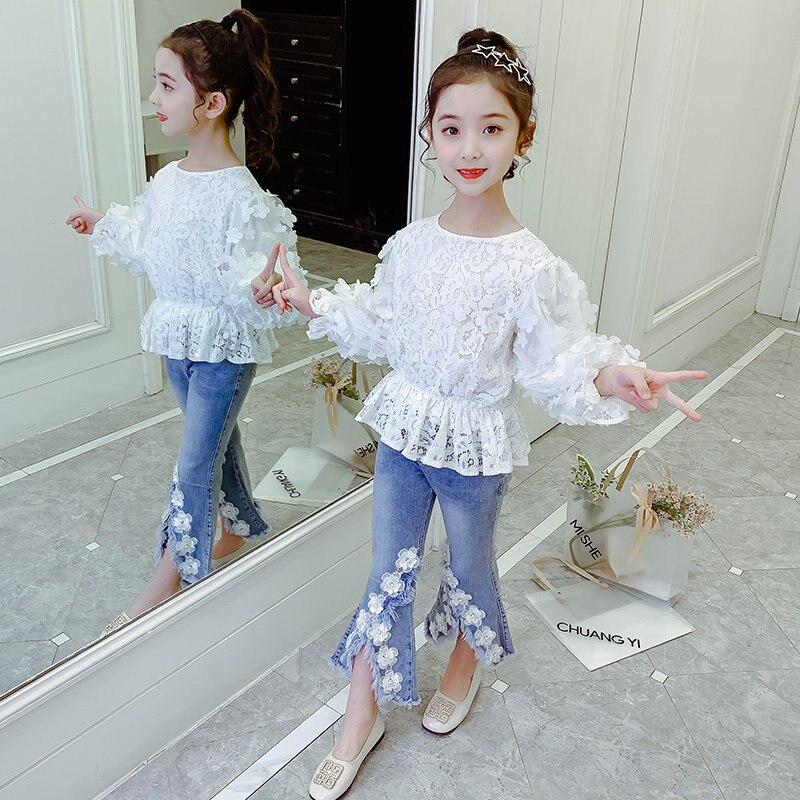 الفتيات الملابس مجموعة التين المدرسة الربيع الدانتيل الأبيض 3D الزهور أعلى + مضيئة الجينز الاطفال أنيقة رياضية للفتيات 6 8 10 12 13 سنوات