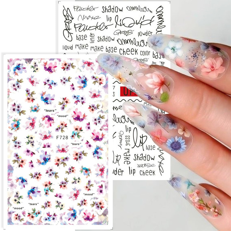 Flower Nail Stickers Vintage Floral Nail Design Summer Blooming Nails Stikkers Nail Polish Decal Dec