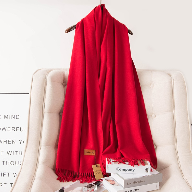 2020 autumn and winter new solid color thickened cashmere scarf Korean female Joker fashion warm scarf shawl dual-use