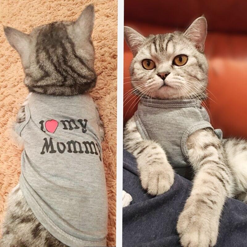 Cute Cat Clothes Spring Summer Pet Clothes Cat Fashion Pet Coat Printed Vest Costume Funny Clothes Pet Clothes