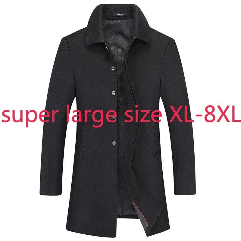 Ветровка мужская на пуговицах, повседневная утепленная куртка большого размера, XL2XL3XL4XL 5XL 6XL 7XL 8XL, Осень-зима