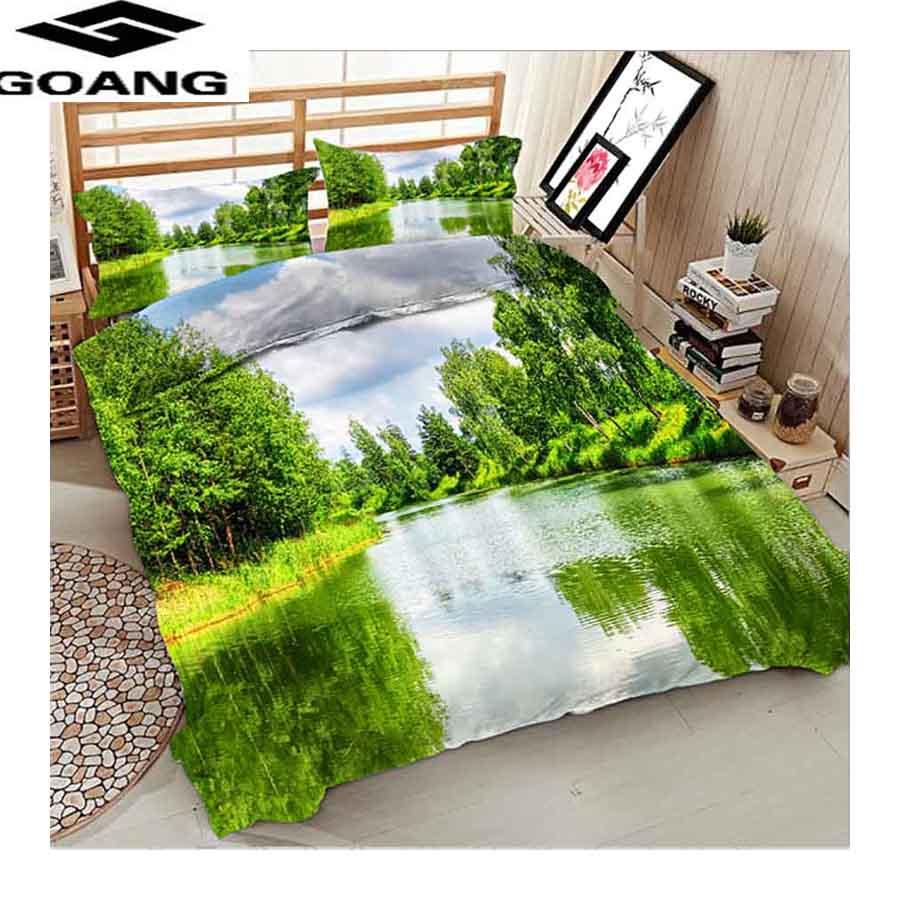 GOANG-طقم سرير مع غطاء لحاف وأكياس وسادة ، منسوجات منزلية ، غطاء سرير شلال ، مقاس كينج 240/220 ، يورو