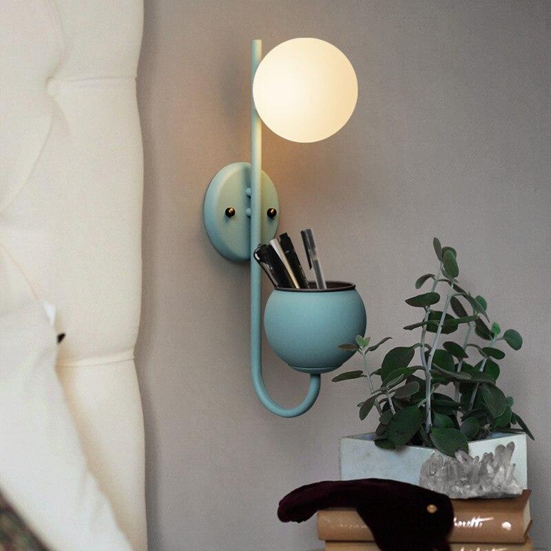 الإبداعية كرة زجاجية دافئة صالون غرفة نوم الممر ديكور الجدار الشمعدان الإضاءة الشمال الحد الأدنى ماكارونس مصنع السرير وحدة إضاءة Led جداريّة ...