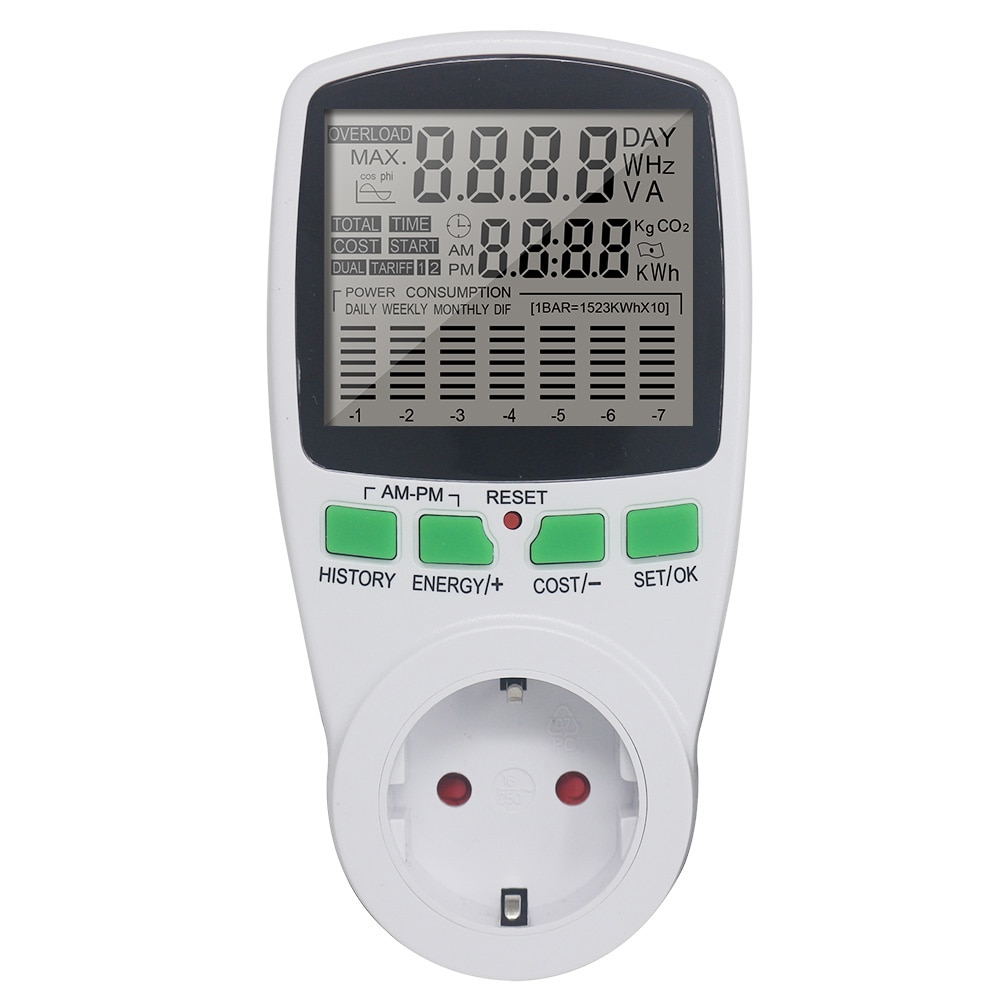 Digital Energy Meter Wattmeter Wattage Electricity Kwh Power Meter EU Power Analyzer Monitor Socket