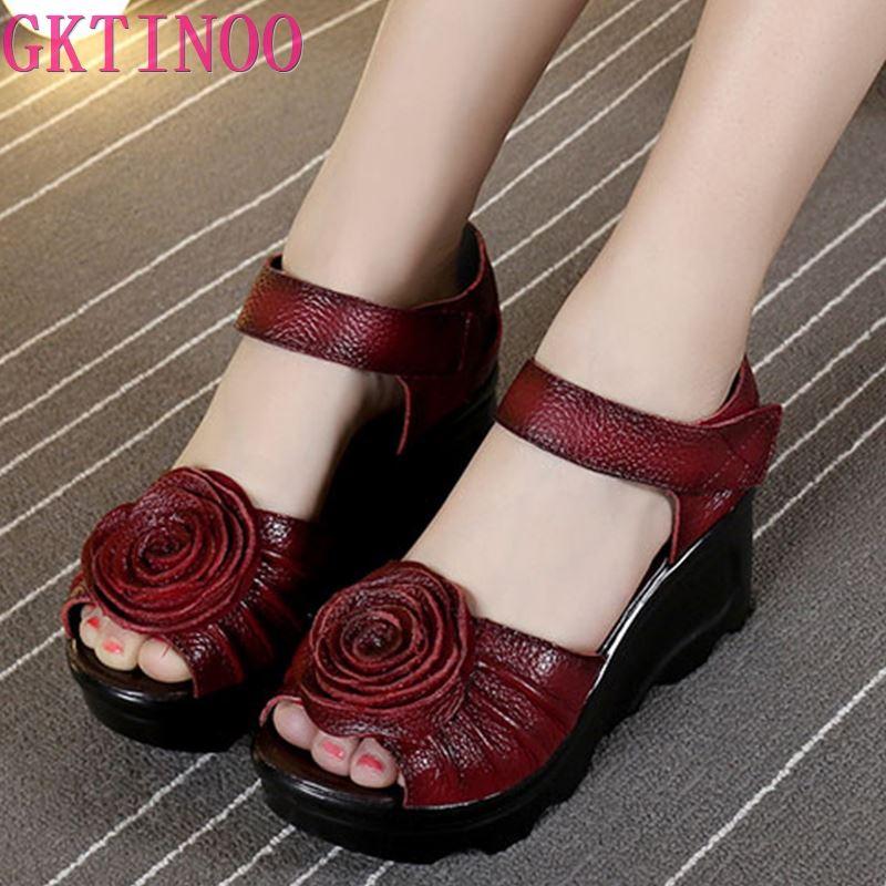GKTINOO-صندل نسائي من الجلد الطبيعي ويدج ، أحذية عرقية ، صناعة يدوية ، جلد طبيعي ، 2021