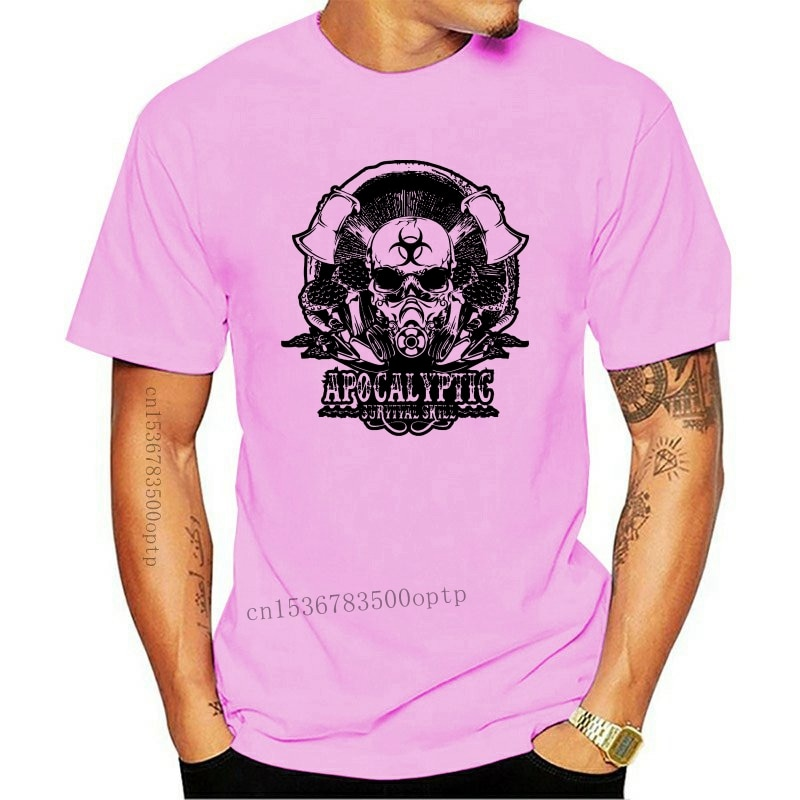 New Apocalyptic Survival Skill Mens Zombie T-Shirt Gaming Skull Video Games PS4 Pc