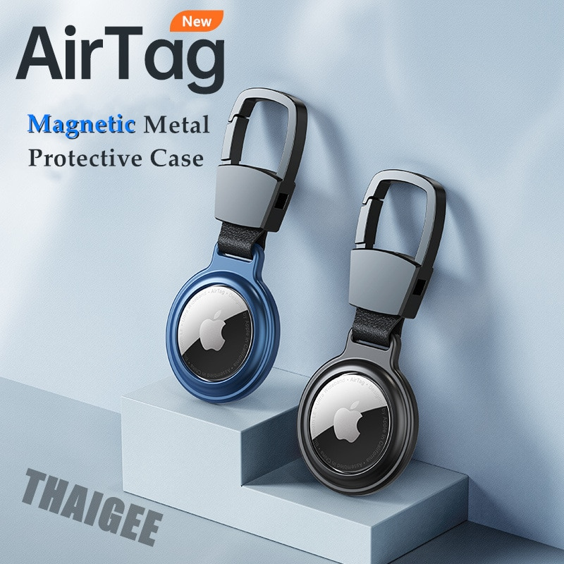 AliExpress - Magnetic Metal Protective Airtag Case For Airtags Cover Keychain Holder For Apple Tracker Anti-lost Device For AirTag Case