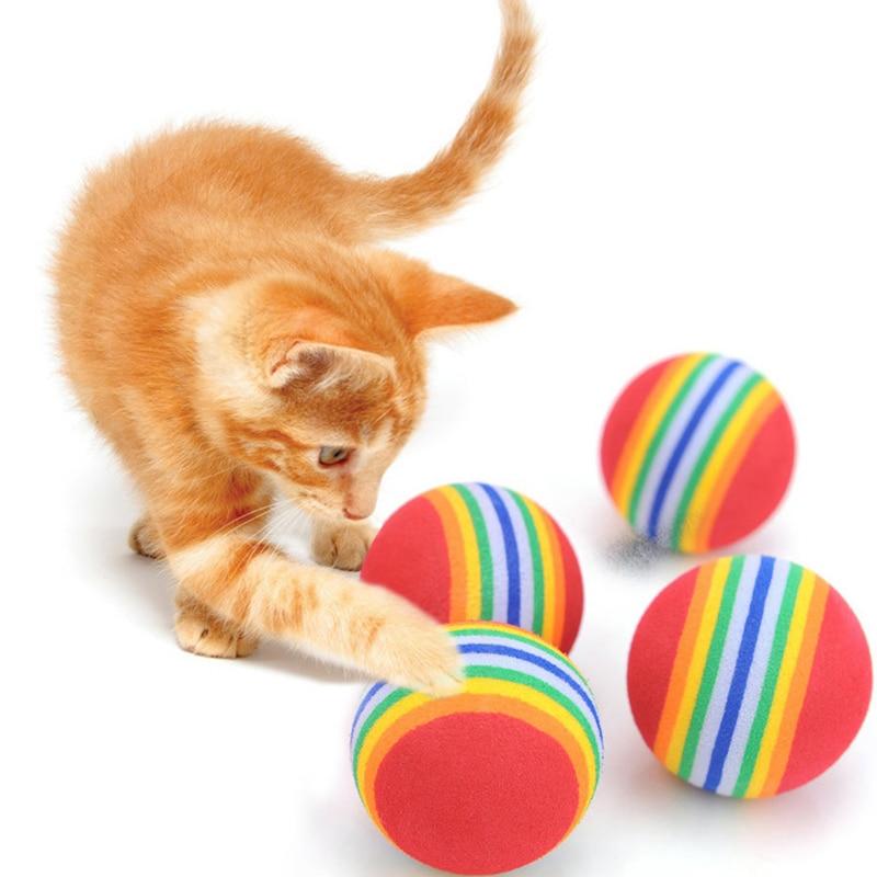 10Pcs Interesting 10Pcs Super Cute Rainbow Toy Ball Small Dog Cat Pet Eva Toys Golf Practice Balls P