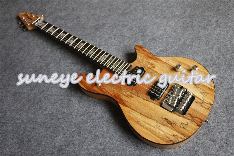 Guitarra Eléctrica Wolfg de grano de madera Natural, instrumento eléctrico cromado, OEM,...
