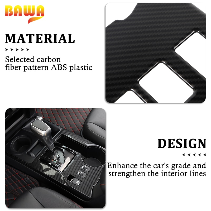 BAWA Car Gear Shift Panel Decoration Cover Stickers Accesories for Toyota 4Runner 2010+ Interior Parts Mouldings enlarge