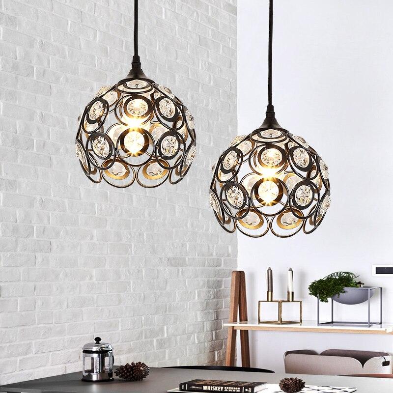 Современные хрустальные подвесные светильники одна голова подвесной светильник для дома Кухня остров Гостиная кулон лампа освещение сало...