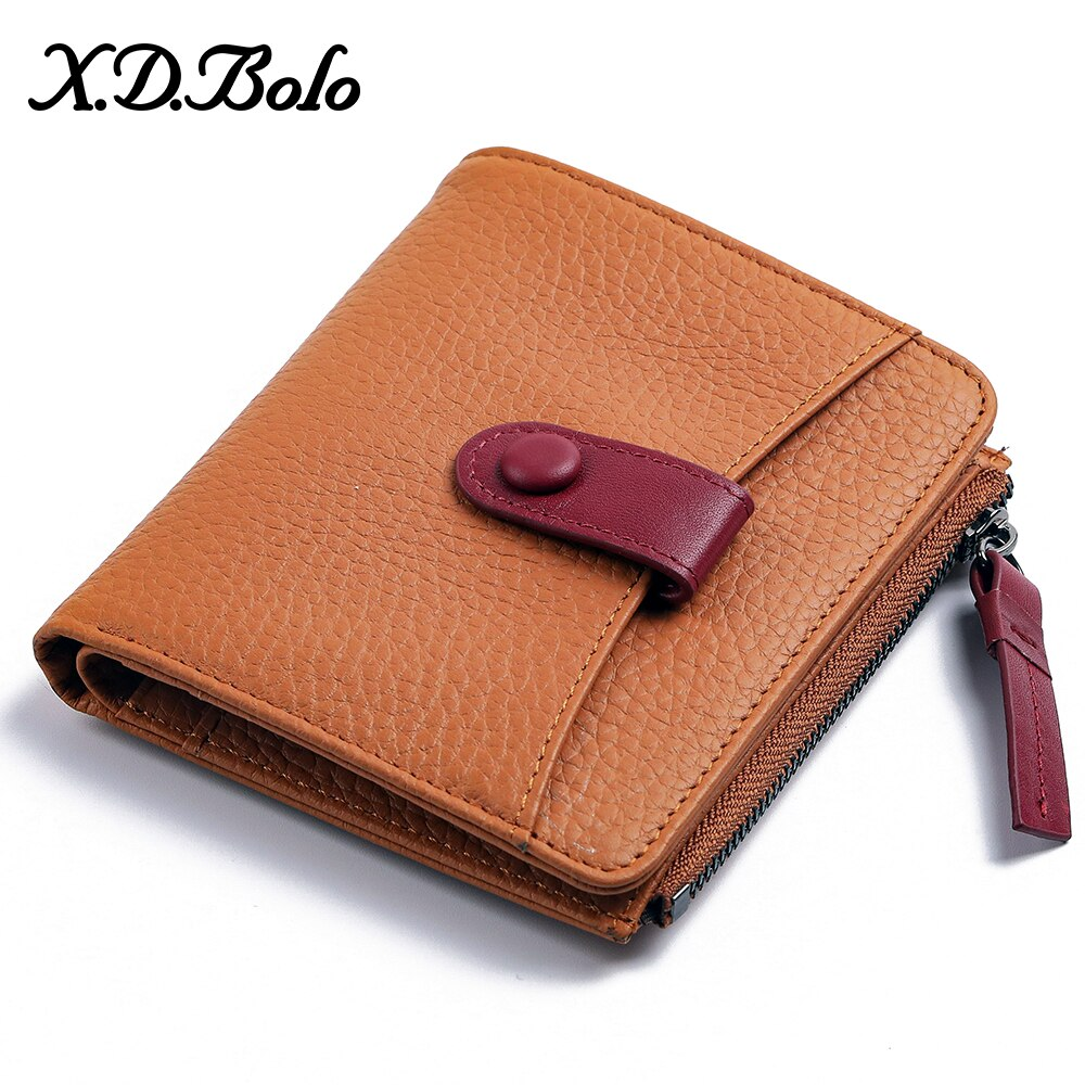 XDBOLO Leather Wallet Female Fashion Short for Women Zipper Mini Coin Purse Ladies Small Clutch New