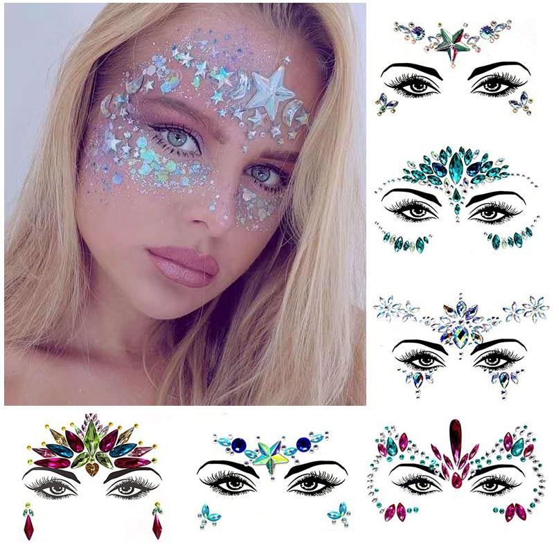 3D   face tattoo stickers Temporary tattoos  glitter fake tattoo  rhinestones for woman  Party face Jewels tatoo