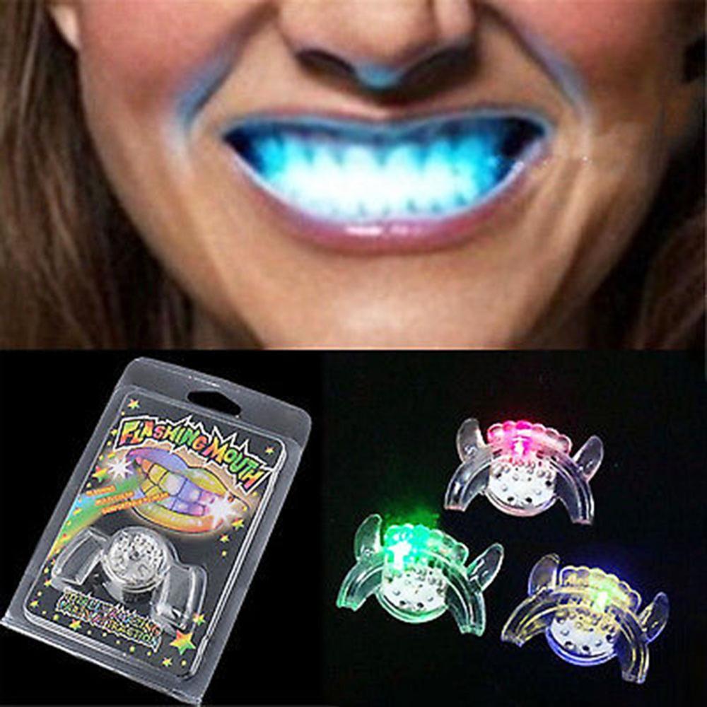 Светящиеся светодиодные подтяжки для рта на Хэллоуин, светящиеся зубы вечерние, детвечерние украшение для праздника