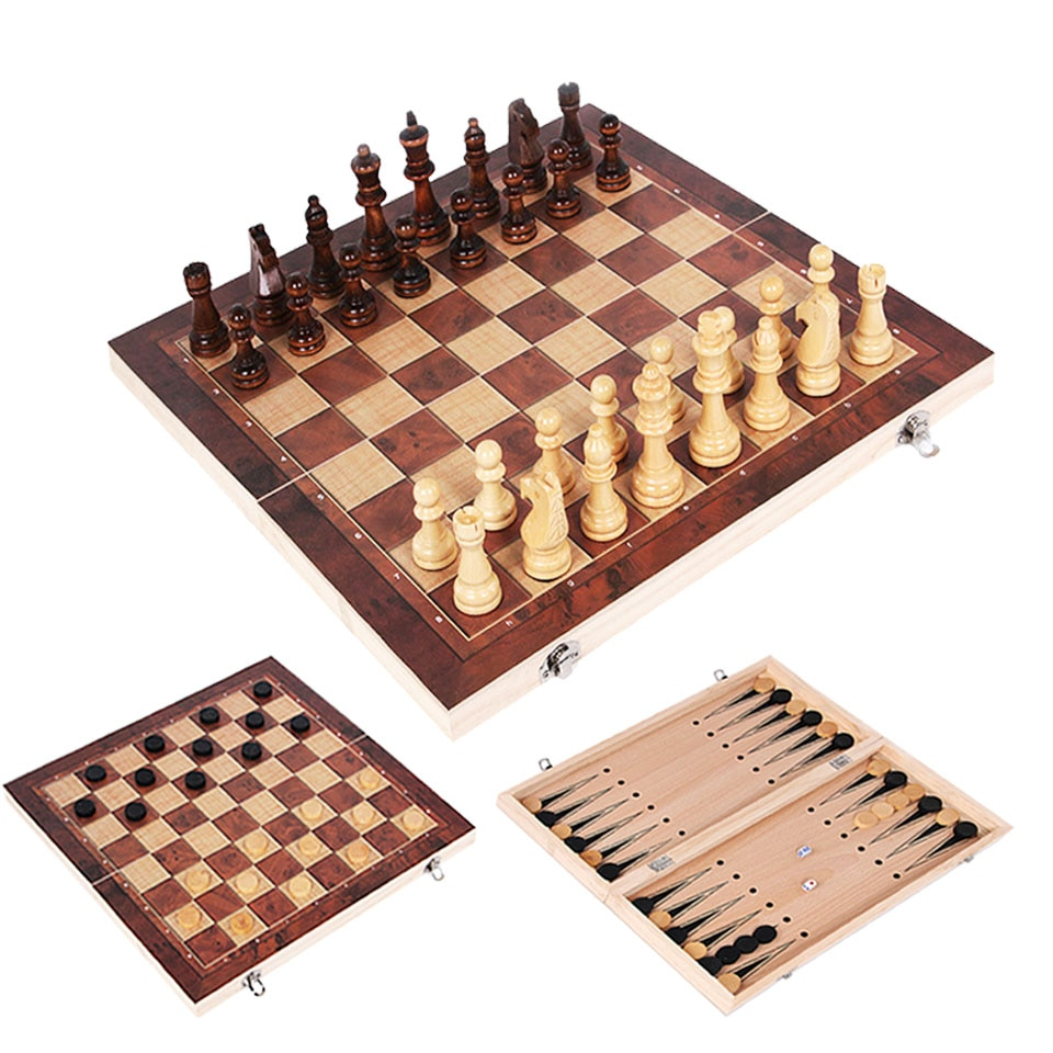 3 in 1 Chess Set Wooden Chess Game Backgammon Checkers Indoor Travel Chess Wooden Folding Chessboard Chess Pieces Chessman
